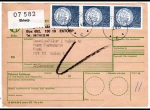 Schweden 1973, MeF 3x6 Kr. Vasa Münze auf Paketkarte v. EKTORP