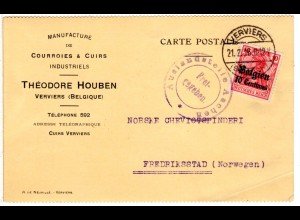 Dt. Besetzung Belgien 1918, 10 C. auf Firmen Auslands Zensur Karte n. Norwegen