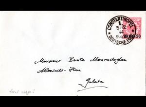 DP Türkei 1894, 20 P./10 Pf. Ganzsache Brief in Ortsverwendung v. Constantinopel