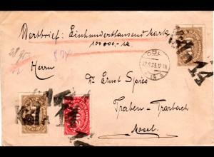 DR 1923, 200+2x400 Mk. auf Wertbrief m. Köln 14 Kork-Stempel n. Traben-Trarbach