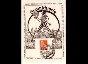 Tag der Briefmarke 1948, Braunschweig Ereigniskarte m. 15 Pf. u. Sonderstempel