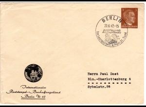 DR 1942, 3 Pf. Privat Ganzsache Brief m. Berlin Sovjet Paradies Sonderstempel