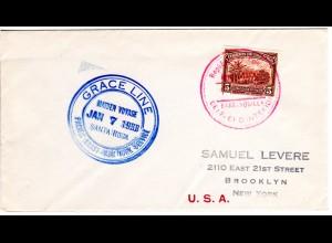 Kolumbien 1933, Grace Line Santa Rosa Maiden Voyage Schiffspost Brief m. 5 C.