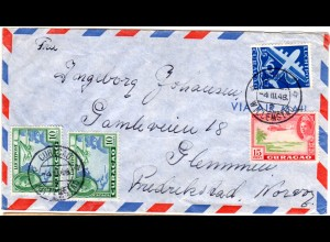 Curacao 1948, 4 Marken auf Luftpost Brief v. Willemstad n. Norwegen