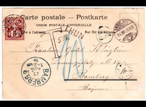 "Schweiz 1898, 5 C. auf Karte m. L1 THUN u. ""T"" sowie Bayern PORTOKONTROLLE ""10"""
