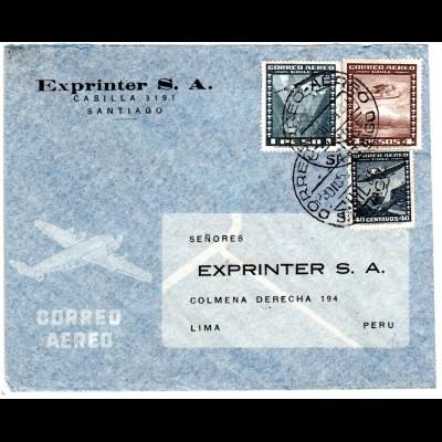 Chile 1954, 40 C.+1+4 P. auf Luftpost Brief v. Santiago n. Peru.