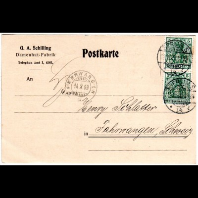 DR 1909, 2x5 Pf. Germania m. perfin Firmenlochung auf Firmen Karte v. Berlin S.