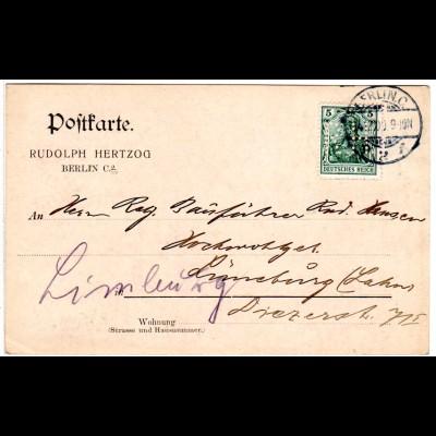 DR 1909, 5 Pf. Germania m. perfin Firmenlochung auf Firmen Karte v. Berlin C.