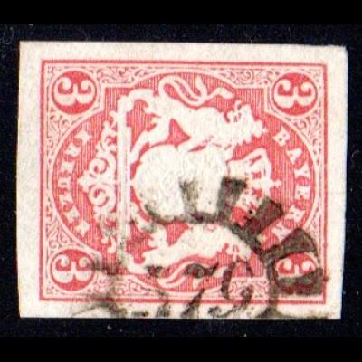 Bayern, MR 579 WERTINGEN (Sonderform!) auf allseits breitrandiger 3 Kr.