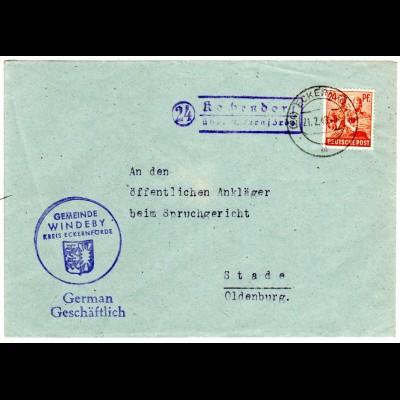 1948, Landpost Stpl. 24 KOCHENDORF über Eckernförde auf Gemeinde Brief m. 24 Pf.