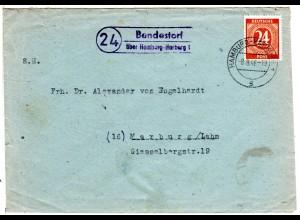 1946, Landpost Stpl. 24 BENDESTORF über Hamburg-Harburg auf Brief m. 24 Pf.