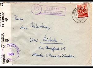 1947, Landpost Stpl. 19 SEETHEN über Gardelegen auf Zensur Brief m. 24 Pf.