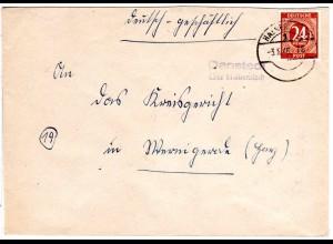 1946, L2-Landpost Stpl. DANSTEDT über Halberstadt auf Brief m. 24 Pf.