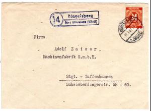 1947, Landpost Stpl. 14 NAGELSBERG über Künzelsau auf Brief m. 24 Pf.
