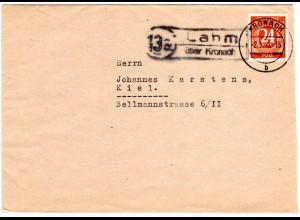 1946, Landpost Stpl. 13a LAHM über Kronach auf Brief m. 24 Pf.