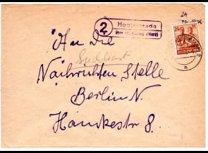 1948, Landpost Stpl. 2 HOPPENRADE über Löwenberg auf Suchdienst Brief m. 24 Pf.