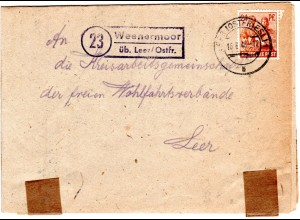 1948, Landpost Stpl. 23 WEENERMOOR über Leer auf Brief m. 24 Pf.