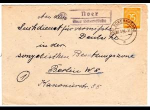 1948, Landpost Stpl. 24 NOER über Eckernförde auf Suchdienst Brief m. 25 Pf.