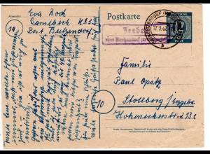 1947, Landpost Stpl. JEEBEN über Beetzendorf auf 12 Pf. Ganzsache