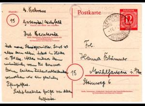 1946, Landpost Stpl. 15 GERTERODE über Bernterode auf 12 Pf. Ganzsache