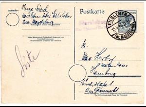 1948, Landpost Stpl. MORSLEBEN über Eilsleben auf 12 Pf. Ganzsache