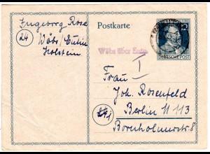 1947, Landpost Stpl. WÖBS über Eutin auf 12 Pf. Ganzsache