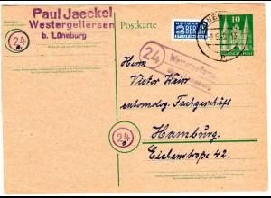 1949, Landpost Stpl. 24 WESTERGELLERSEN über Lüneburg auf 10 Pf. Ganzsache