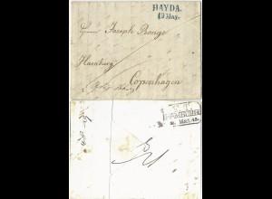 Österreich 1843, blau L2 HAYDA auf Brief franco Hamburg nach Dänemark. #1157