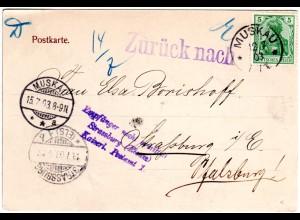 DR 1903, 5 Pf. auf AK v. MUSKAU m. Strassburg Retour-Stempeln
