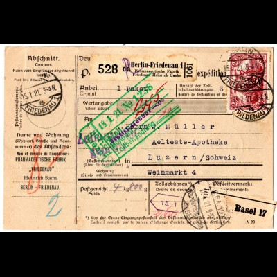 DR 1921, 3x2,50 Mk.+50 Pf. vorder- u. rs. auf Paketkarte v. Berlin i.d. Schweiz.