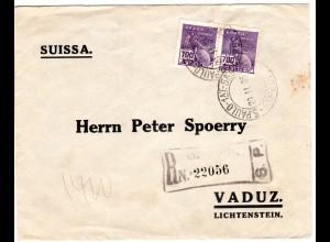 Brasilien 1935, Paar 700 R. auf Einschreiben Brief v. Sao Paulo n. Liechtenstein