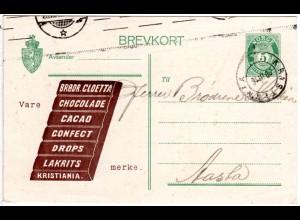Norwegen 1916, 5 öre Ganzsache v. Kristiania m. illustr. Schokolade Zudruck