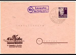 1949, Landpost Stpl. 10b LEUPAHN über Rochlitz auf Drucksache Brief m. 6 Pf.