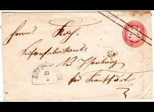 Bayern, 3 Kr. Ganzsache Brief m. HKS RÖTHENBACH n. Frankfurt