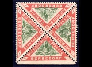 Bergedorf, postfr. 4er-Block 2 Pf., dabei ungezähntes Bogenrandstück.