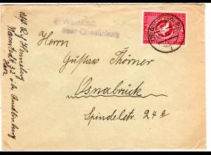 1949, Landpost Stpl. WARNSTED über Quedlinburg auf Brief m. 24 Pf.
