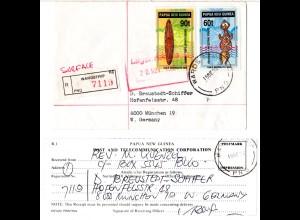 Papua Neu Guinea 1992, 60+90 t artifacts auf Einschreiben Brief v. Wardstrip