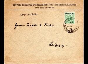 DP Türkei 1894, EF 10 Pa./5 Pf. auf Vordruck Drucksache Brief v. Constantinopel