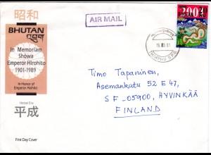 Bhutan 2001, 20 nu. Snake Year m. Schlang auf FDC m. Luftpost n. Finnland