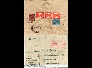 Indien 1950, R-Zettel INDIAN EMBASSY, NEPAL auf Einschreiben Brief m. 5 Marken