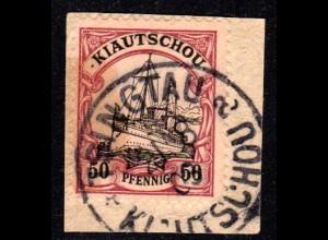 Kiautschou 12, 50 Pf. auf Briefstück m. Stpl. TSINGTAU a. Geprüft.