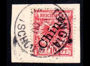 Kiautschou V 3 II, 10 Pf. China Steilaufdr. auf Briefstück m. Stpl. TSINGTAU a.