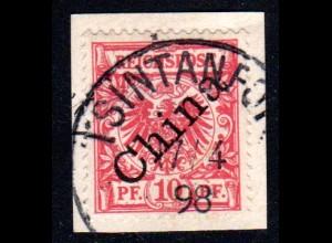 Kiautschou V 3 I, 10 Pf. China Diagonalaufdr. auf Briefstück m. K1 TSINTANFORT
