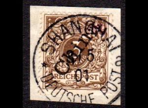 China 1 IIa, 3 Pf. Steilaufdruck auf Briefstück m. Stpl. Shanghai a.