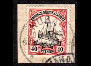 DSWA, 40 Pf. auf Briefstück m. Stempel KUBxxxAS