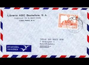 Peru 1962, EF 4,30 S Inka Sonnen Observatorium auf Luftpost Brief n. Deutschland