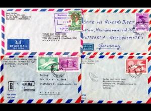 Paraguay 1963/66, 4 Luftpost Briefe n. Deutschland, dabei ein Einschreiben