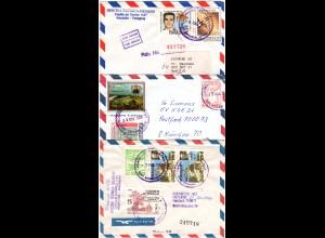 Paraguay 1988/92, 3 Siemens Luftpost Briefe n. Deutschland, dabei 2 Einschreiben