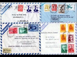 Argentinien 1966, 4 Luftpost Briefe n. Deutschland, dabei ein Einschreiben