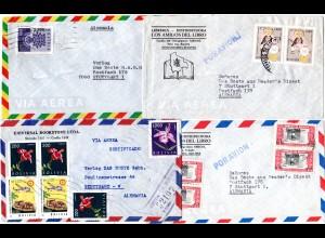 Bolivien 1962/67, 4 Luftpost Briefe n. Deutschland, dabei ein Einschreiben